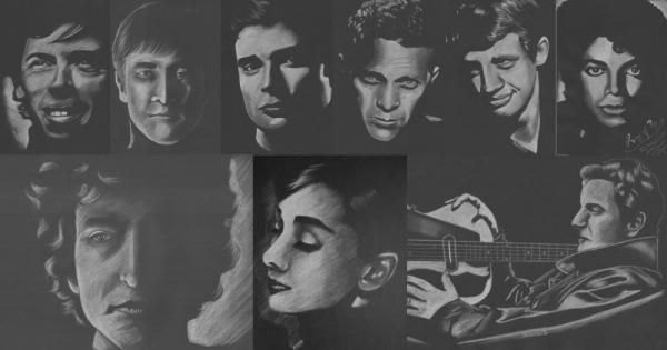 Francis Cabrel, Bob Dylan, Michael Jackson, Jean-Paul Belmondo, Steve McQueen, Tom Welling, John Lennon, Jacques Brel by Aresia